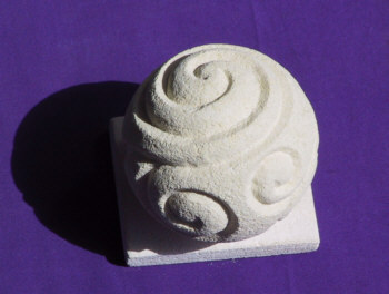 Carved Oamaru Stone Sphere